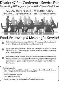 District 47 Pre-Conference Service Fair 2020 @ Porterville 12 Step Recovery Club